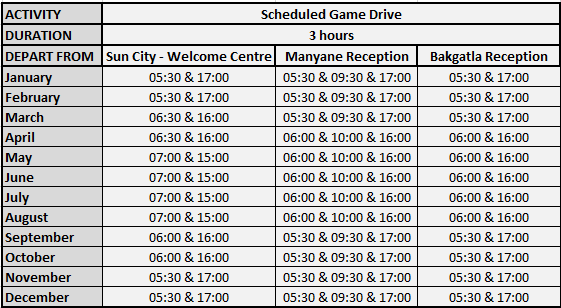 3 Hour Game Drive Departure Schedule for Pilanesberg National Park